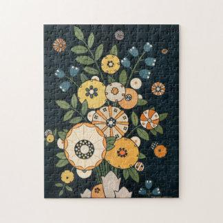 ヴィンテージの植物の幾何学的な円の花の抽象芸術 ジグソーパズル