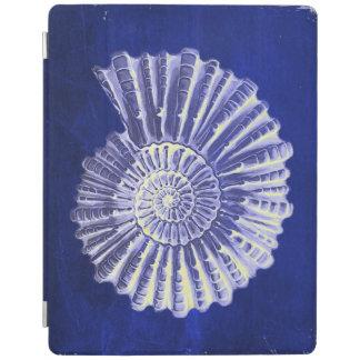 ヴィンテージの植物の沿岸青く白い貝殻 iPadスマートカバー