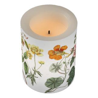 ヴィンテージの植物の花の花柄のコラージュ LEDキャンドル