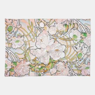 ヴィンテージの植物の花の花柄の庭 キッチンタオル
