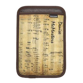 ヴィンテージの楽譜-名前入りな名前 iPad MINIスリーブ