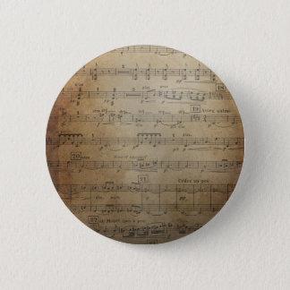 ヴィンテージの楽譜 5.7CM 丸型バッジ