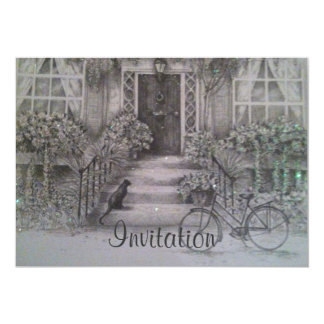 ヴィンテージの正面の家の招待 カード