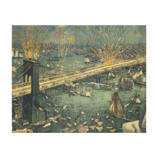 ヴィンテージの歴史的なニューヨークブルックリン橋の入り口 キャンバスプリント
