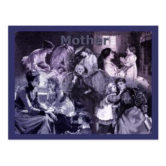 ヴィンテージの母および子供のコラージュ ポストカード