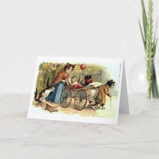 ヴィンテージの母猫および家族! ビクトリア朝カード