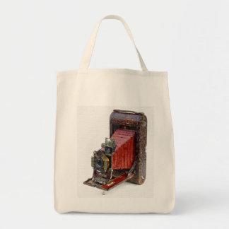ヴィンテージの水彩画のカメラ トートバッグ