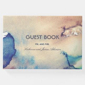 ヴィンテージの水彩画のビーチ結婚式 ゲストブック