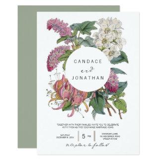 ヴィンテージの水彩画の花の芸術の結婚式 カード