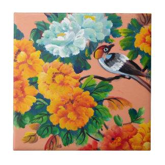 ヴィンテージの水彩画の鳥 タイル