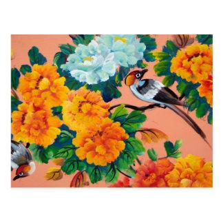 ヴィンテージの水彩画の鳥 ポストカード