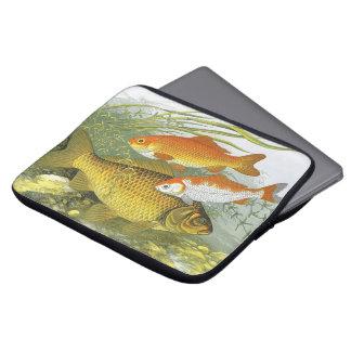 ヴィンテージの水生金魚のコイの魚、海洋の海洋生物 ラップトップスリーブ