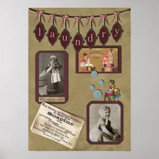 ヴィンテージの洗濯のスクラップブックのプリント ポスター