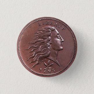 ヴィンテージの流れる毛の大きいセント 3.2CM 丸型バッジ