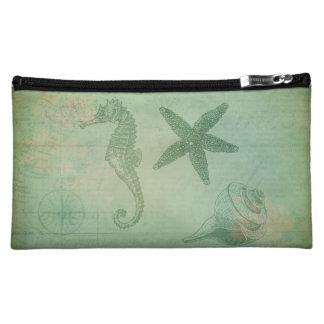ヴィンテージの海の動物および貝殻 コスメティックバッグ