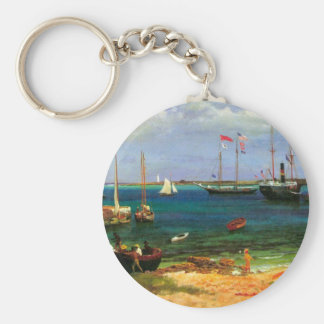ヴィンテージの海景、Bierstadt著ナッサウ港 キーホルダー