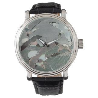 ヴィンテージの海洋の鳥、海に飛んでいるカモメ 腕時計