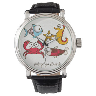 ヴィンテージの海洋動物のヴィンテージの革バンドの黒 腕時計