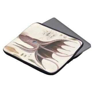 ヴィンテージの海洋生物動物、傘のイカ ラップトップスリーブ