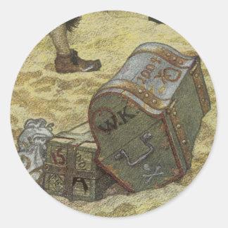 、ヴィンテージの海賊宝物を埋めているウィリアム・キッド ラウンドシール