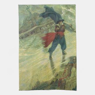 ヴィンテージの海賊、ハワードPyle著さまよえるオランダ船 キッチンタオル