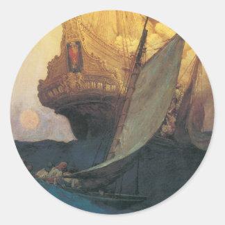 ヴィンテージの海賊、ハワードPyle著Galleonの攻撃 ラウンドシール