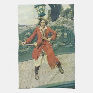 、ヴィンテージの海賊KeittハワードPyle著大尉 キッチンタオル