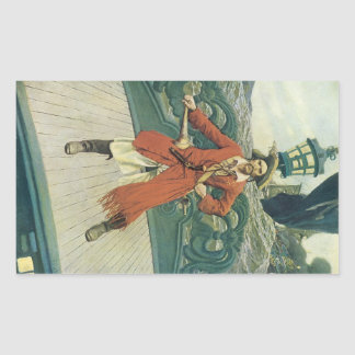 、ヴィンテージの海賊KeittハワードPyle著大尉 長方形シール