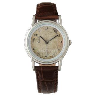 ヴィンテージの消印の女性ブラウンCroco革腕時計 腕時計