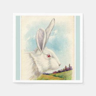 ヴィンテージの淡いブルーの大きく白いイースターウサギ スタンダードカクテルナプキン