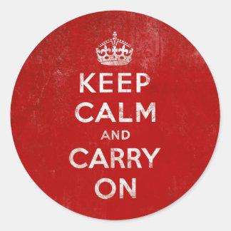 ヴィンテージの深紅の動揺してなKeep Calm and Carry On ラウンドシール
