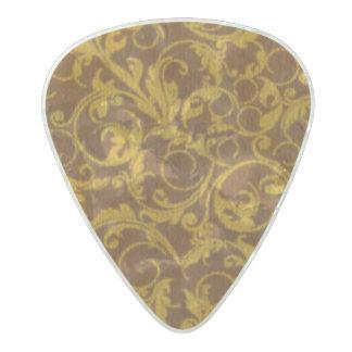 ヴィンテージの渦巻のマンゴのシナモン パールセルロイド ギターピック