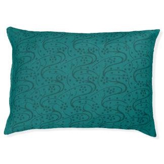 ヴィンテージの渦巻の花のターコイズのティール(緑がかった色) ペットベッド