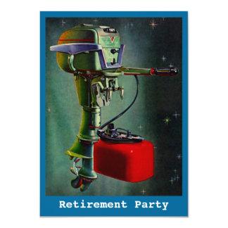 ヴィンテージの漁船モーター退職の招待状 カード