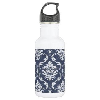 ヴィンテージの濃紺の白いダマスク織パターン ウォーターボトル