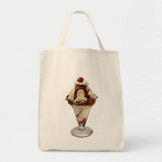 ヴィンテージの熱いファッジのアイスクリームのサンデーのデザート トートバッグ