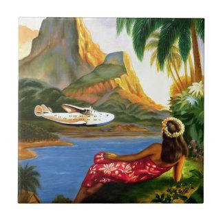 ヴィンテージの熱帯ハワイの水上機のヤシの木 タイル