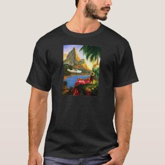 ヴィンテージの熱帯ハワイの水上機のヤシの木 Tシャツ