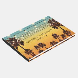 ヴィンテージの熱帯ビーチのやしハワイの結婚式 ゲストブック