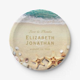 ヴィンテージの熱帯ビーチのヒトデの結婚式のコレクション ペーパープレート