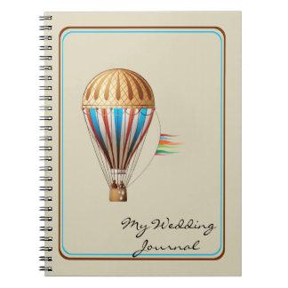 ヴィンテージの熱気の気球の結婚式ジャーナル ノートブック