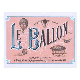 ヴィンテージの熱気の気球の郵便はがきパリ ポストカード
