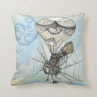 ヴィンテージの熱気の気球のSteampunkの青の枕 クッション