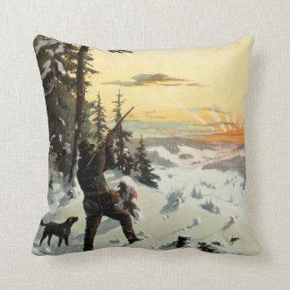 ヴィンテージの猟犬銃の冬の芸術の装飾の枕 クッション