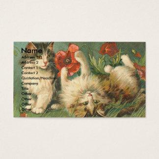 ヴィンテージの猫ちゃんおよびケシ 名刺