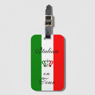 ヴィンテージの王冠のモダンなイタリアのイタリア人の旗 ラゲッジタグ