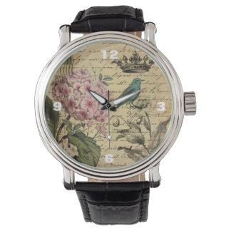 ヴィンテージの王冠の植物の芸術のアジサイのフランス人の鳥 腕時計