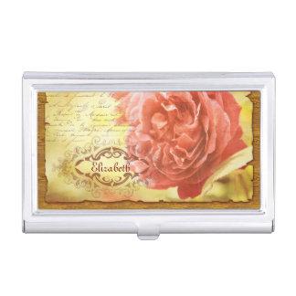 ヴィンテージの珊瑚のピンクのバラの手書きの華美なフレーム 名刺入れ