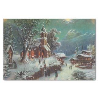 ヴィンテージの田園クリスマスイブのジャンル絵画 薄葉紙