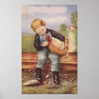 ヴィンテージの男の子および彼のペット鶏 ポスター